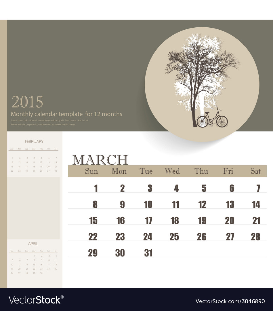 2015 calendar monthly calendar template for march vector | Price: 1 Credit (USD $1)