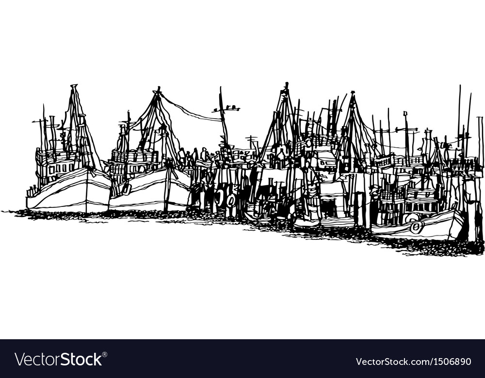 Fishing boats in the harbor vector   Price: 1 Credit (USD $1)