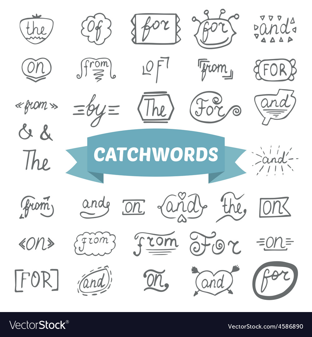 Hand lettered catchwords hand drawn set vector | Price: 1 Credit (USD $1)