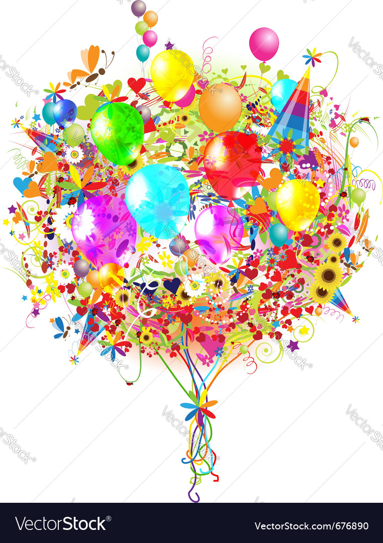 Happy birthday balloons vector | Price: 1 Credit (USD $1)