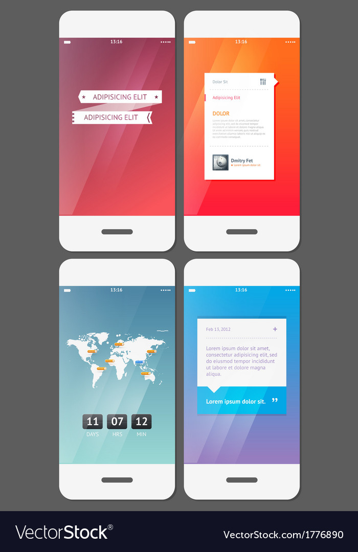 Mobile user interface template - stock vector | Price: 1 Credit (USD $1)