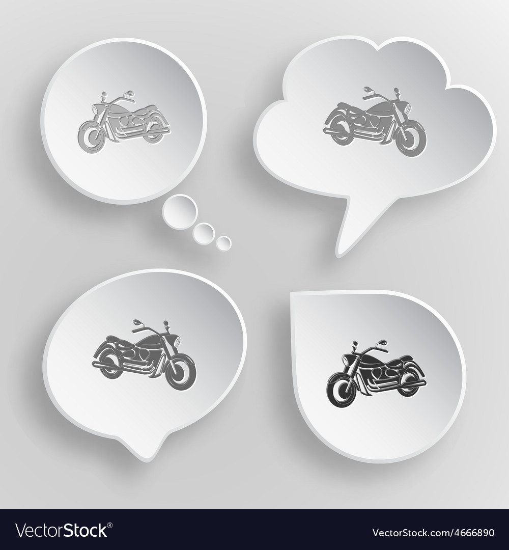 Motorcycle white flat buttons on gray background vector   Price: 1 Credit (USD $1)