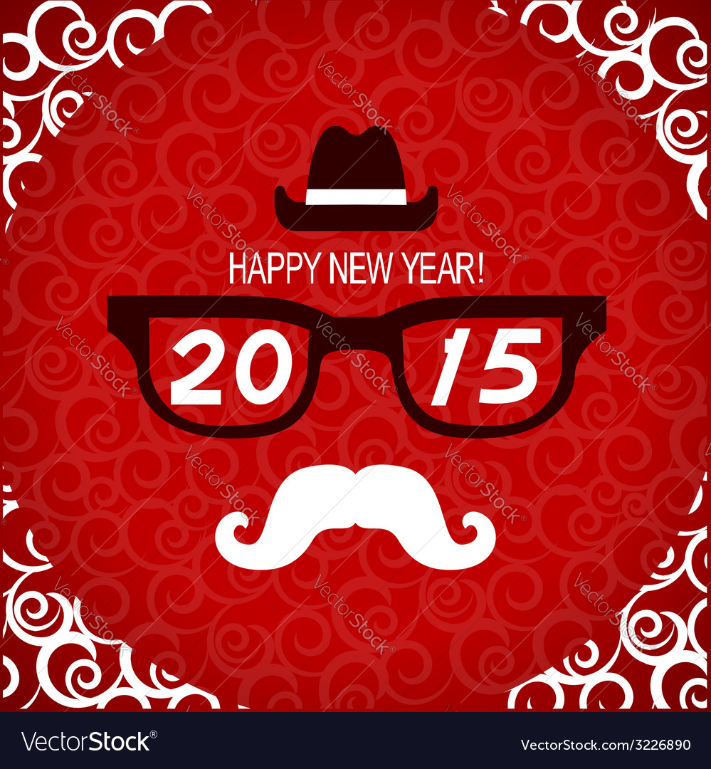 New year hipster greeting card vector | Price: 1 Credit (USD $1)