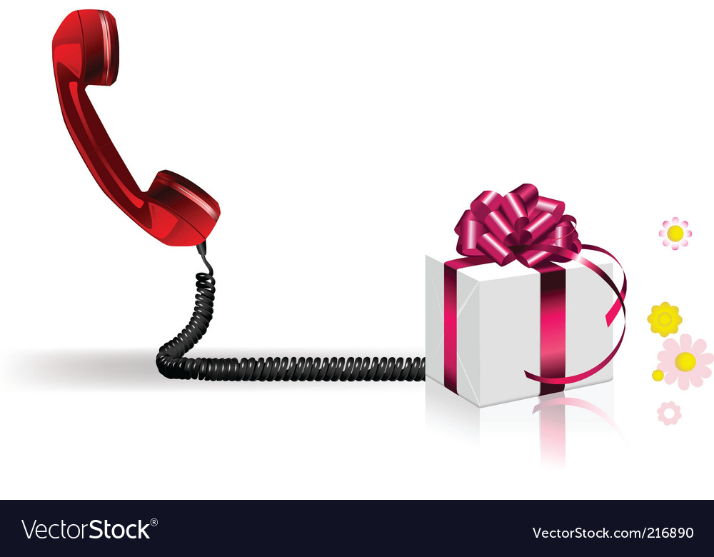 Old phone with present vector | Price: 1 Credit (USD $1)