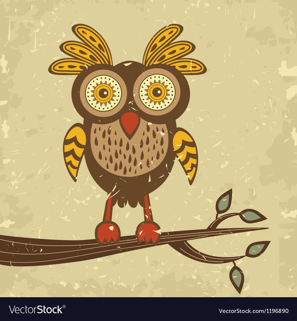 Retro owl vector | Price: 1 Credit (USD $1)