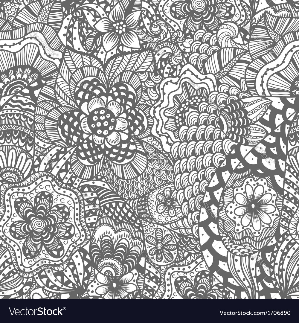 Seamless hand drawn seamless flower pattern vector | Price: 1 Credit (USD $1)