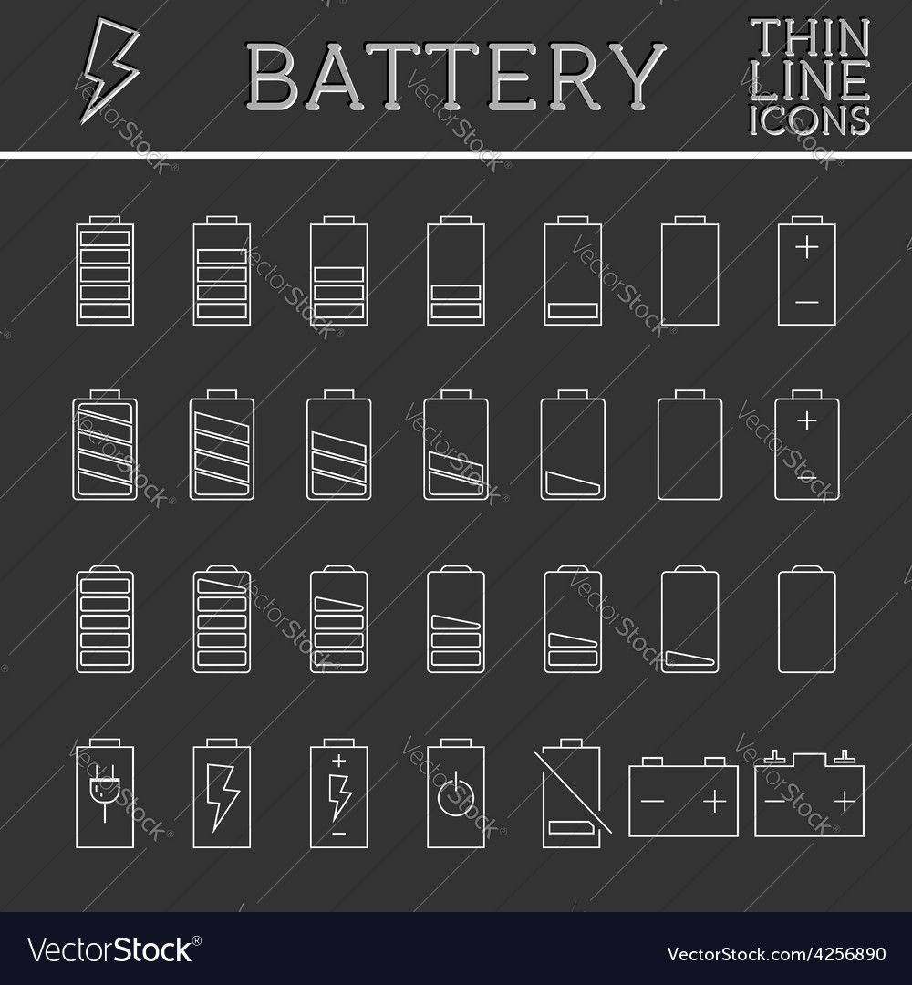 Set of battery charge level indicators trendy vector | Price: 1 Credit (USD $1)