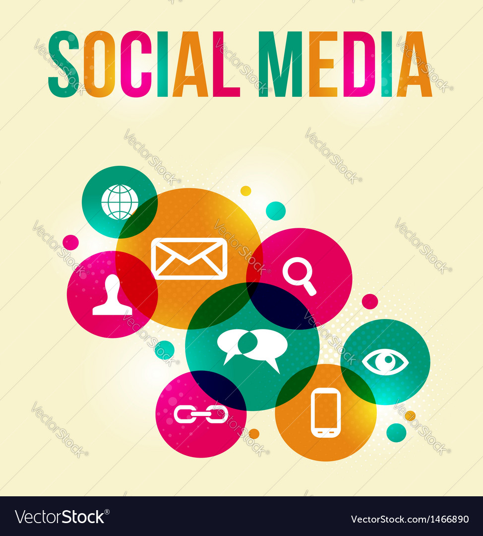 Social network concept colorful background vector | Price: 1 Credit (USD $1)