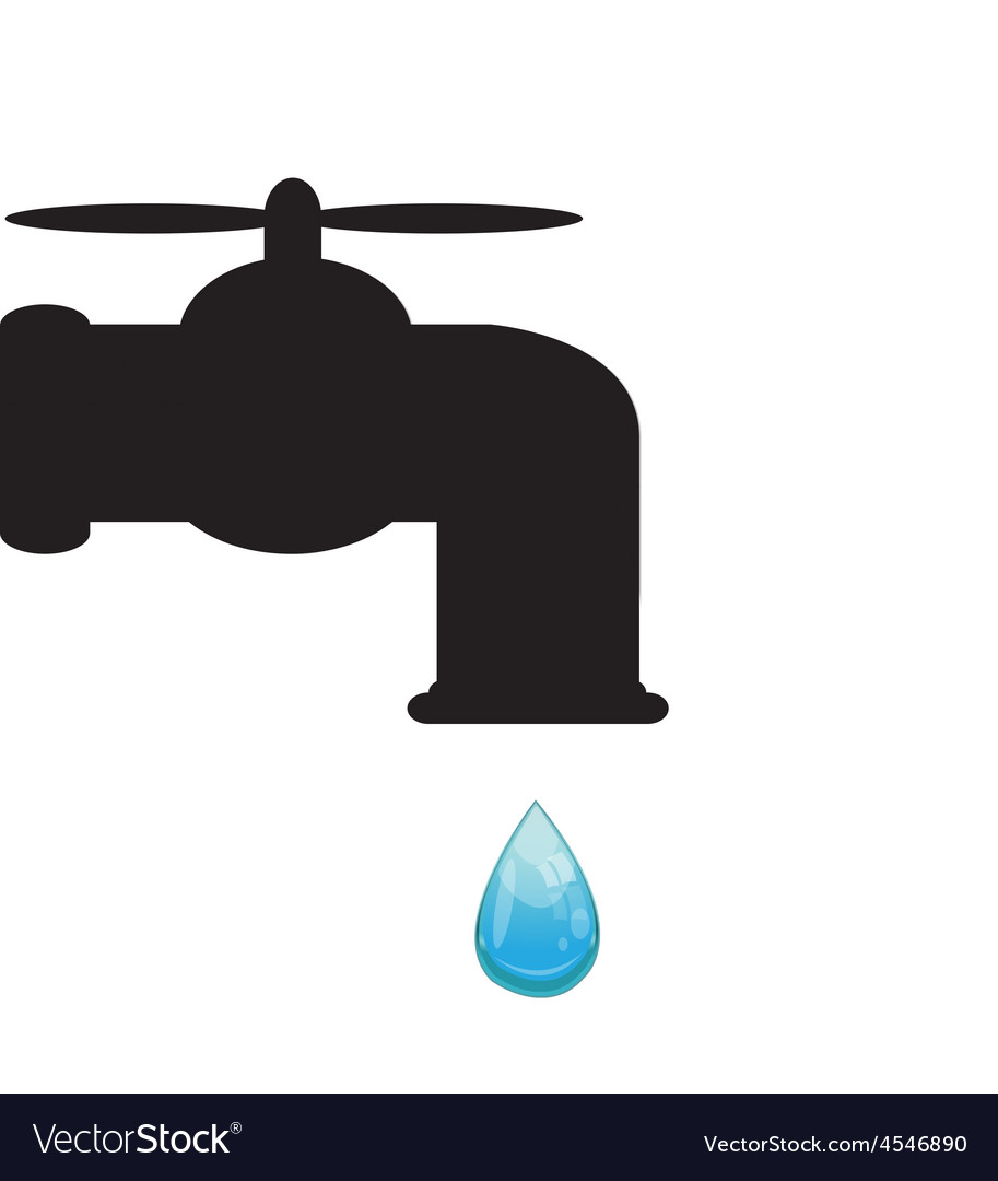 Tap with water drop vector | Price: 1 Credit (USD $1)