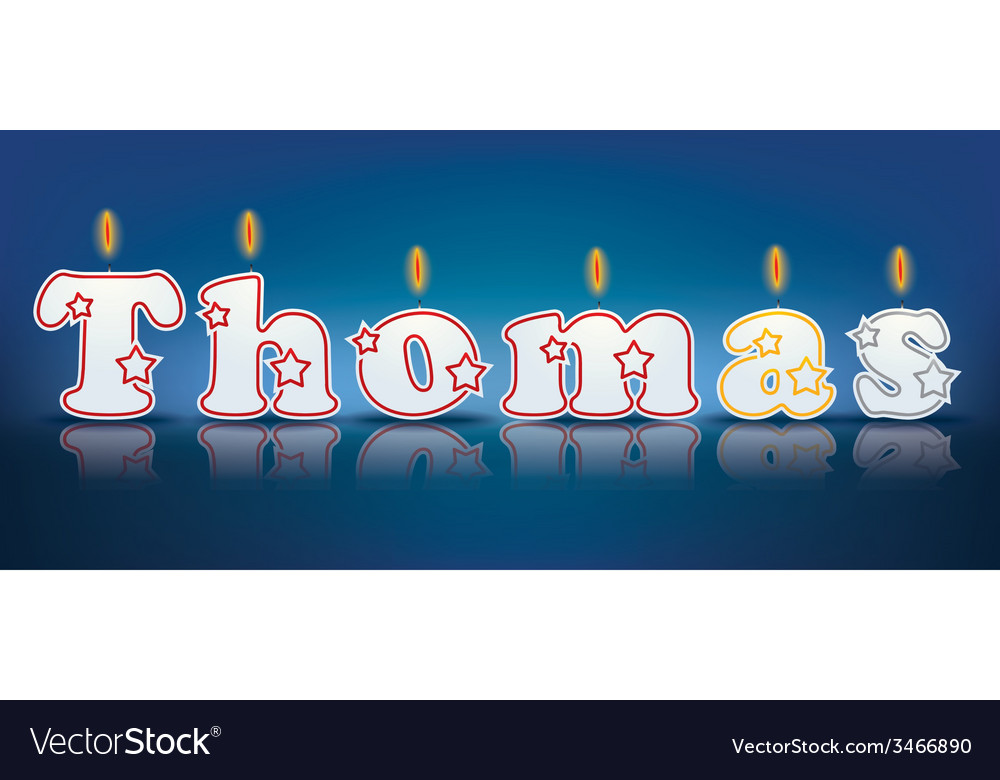 Thomas written with burning candles vector   Price: 1 Credit (USD $1)
