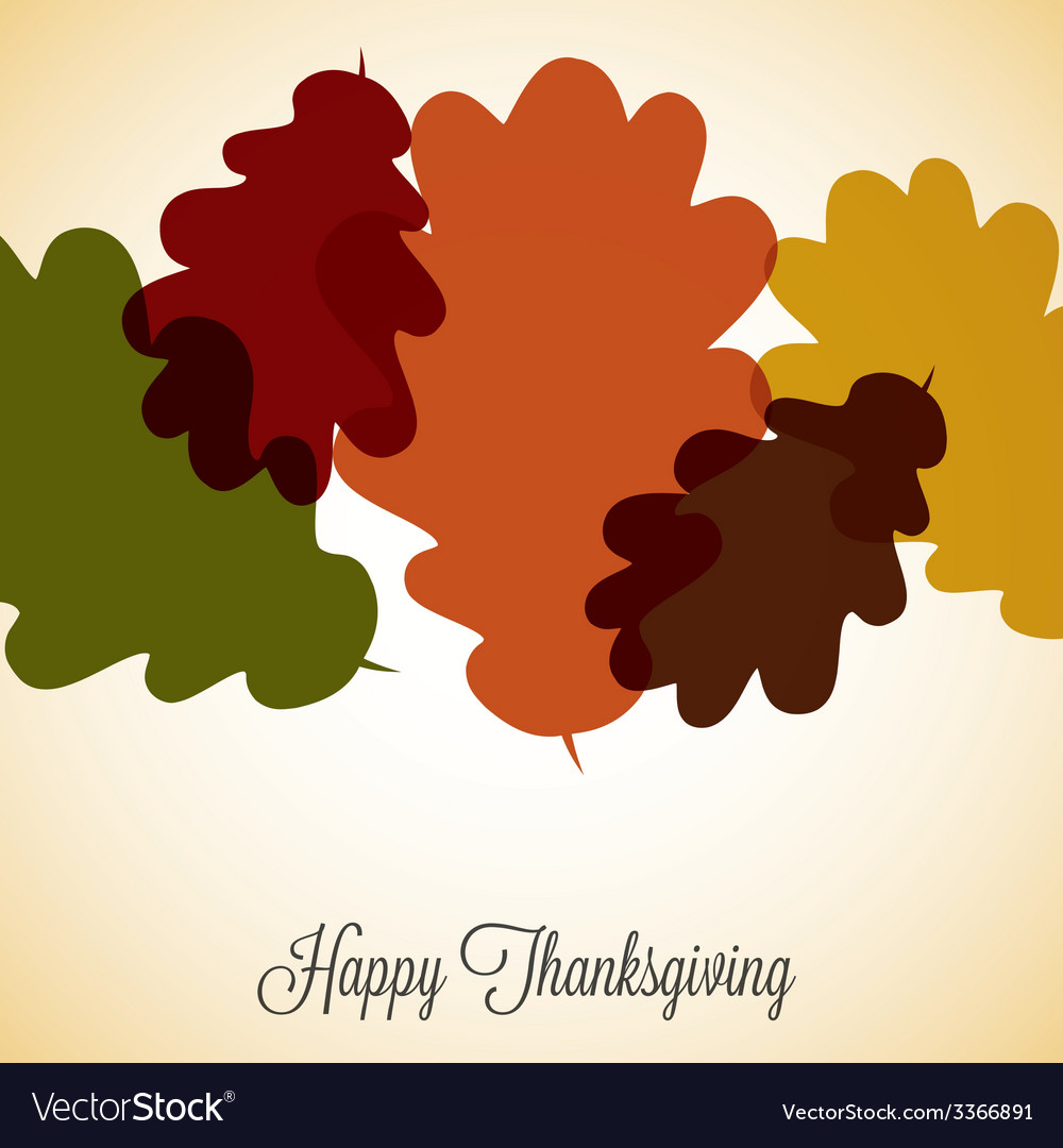 Acorn leaf thanksgiving card in format vector | Price: 1 Credit (USD $1)
