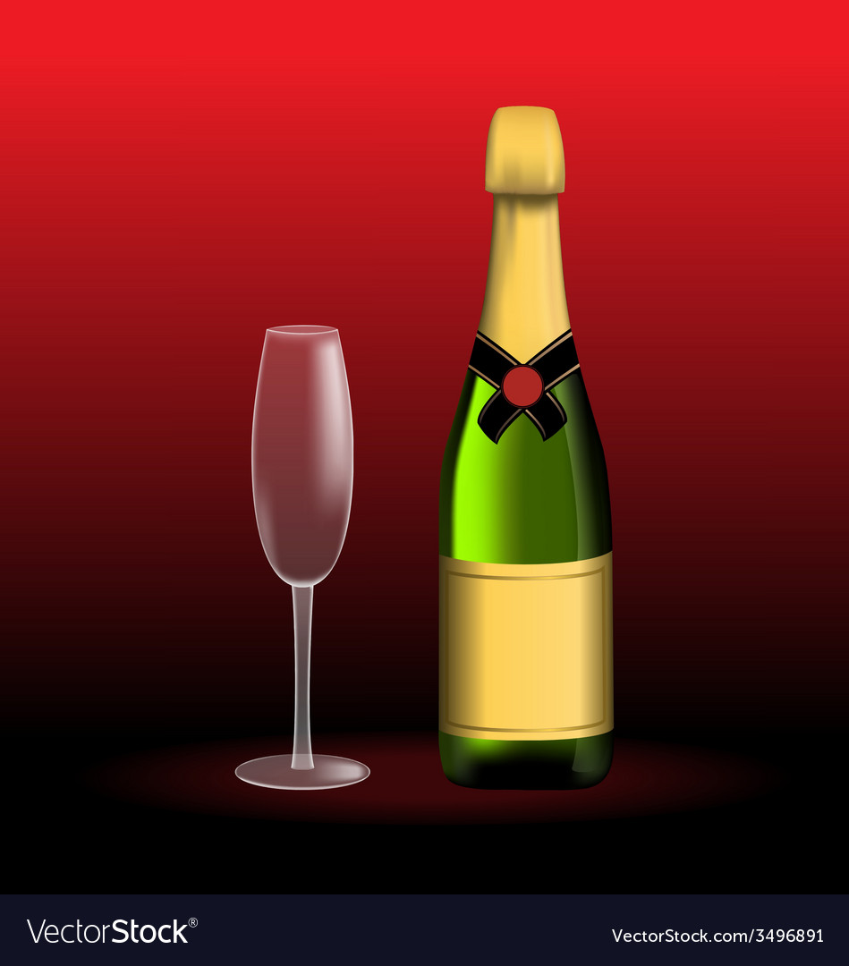 Bottle of sparkling wine and empty glass vector | Price: 1 Credit (USD $1)