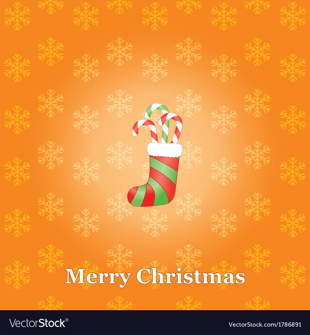 Christmas background with sock and candies vector | Price: 1 Credit (USD $1)