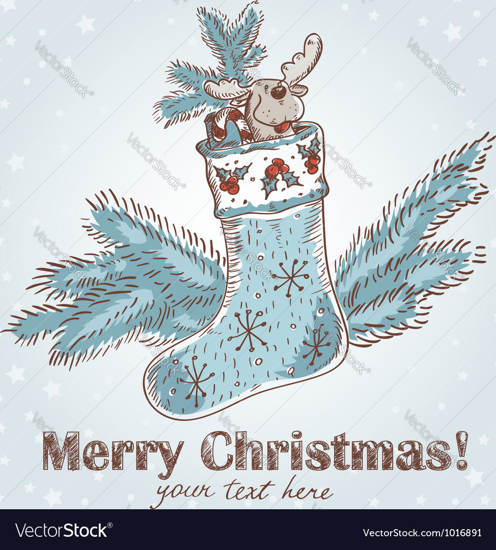 Cute christmas hand drawn ink retro postcard vector | Price: 1 Credit (USD $1)