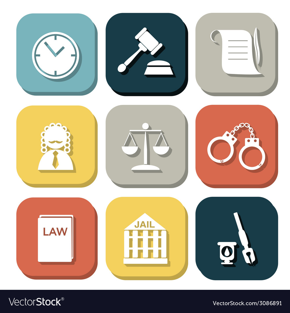 Law judge icon set justice sign vector | Price: 1 Credit (USD $1)