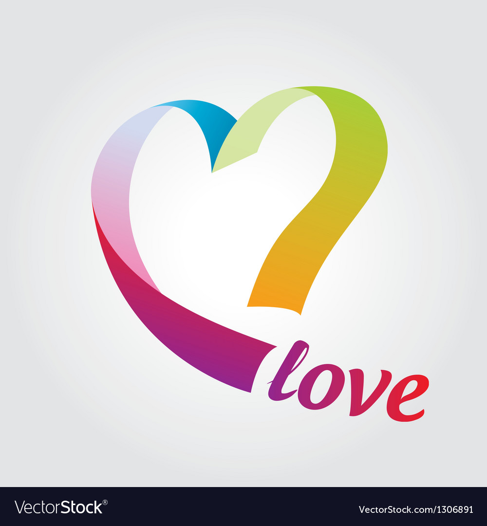 Logo heart of colored ribbons vector | Price: 1 Credit (USD $1)