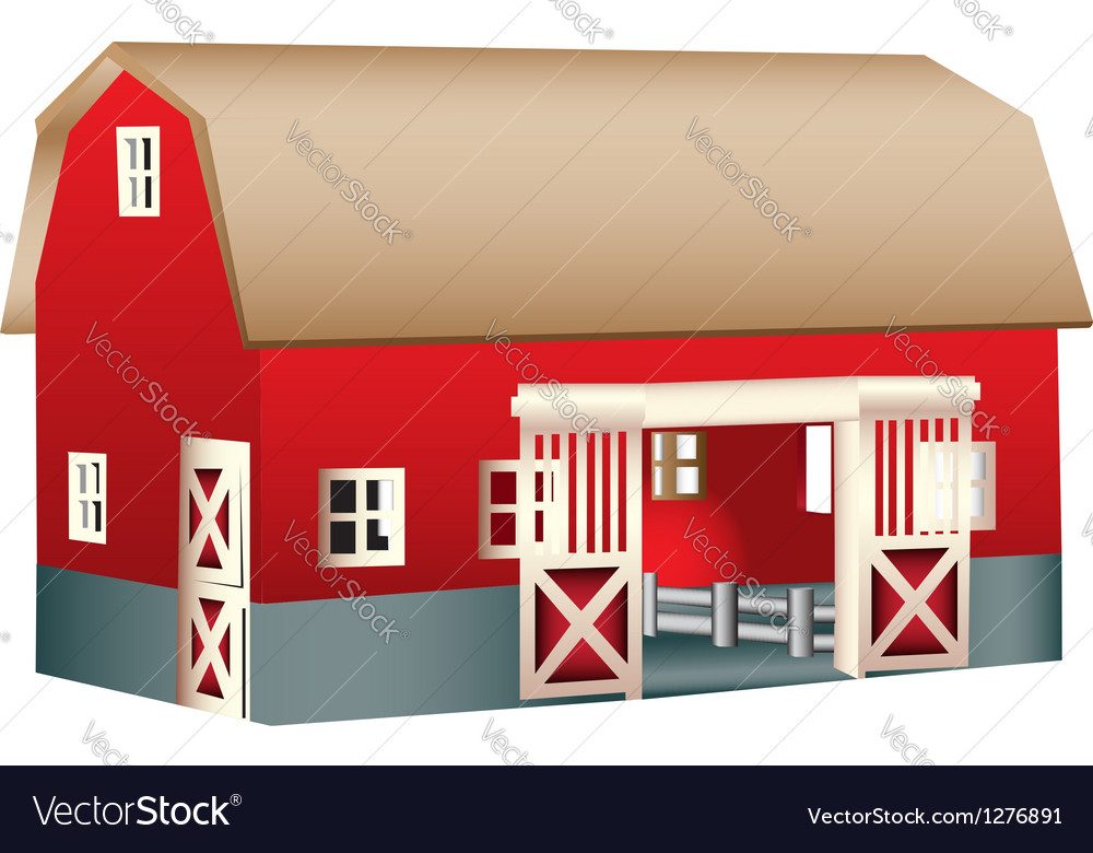 Red wooden toy barn vector | Price: 1 Credit (USD $1)
