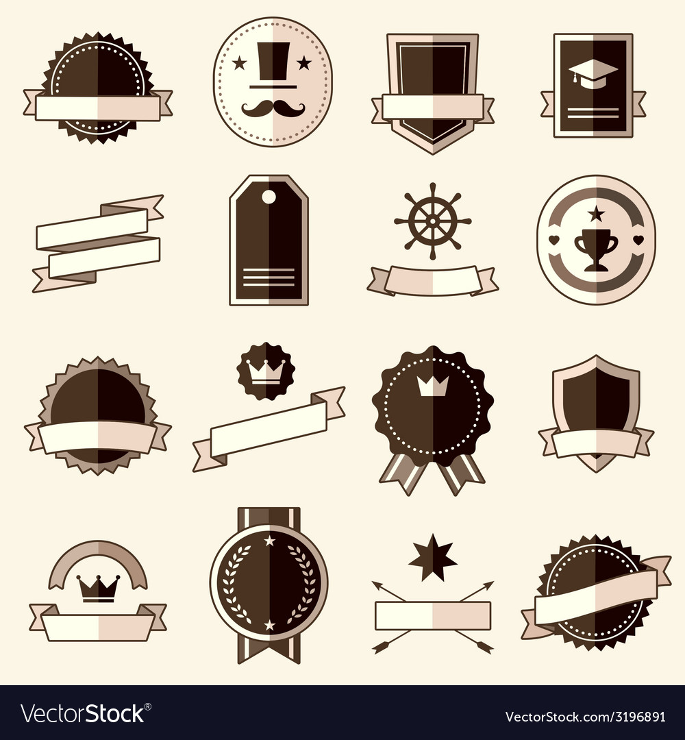 Retro flat vintage labels signs badges vector | Price: 1 Credit (USD $1)