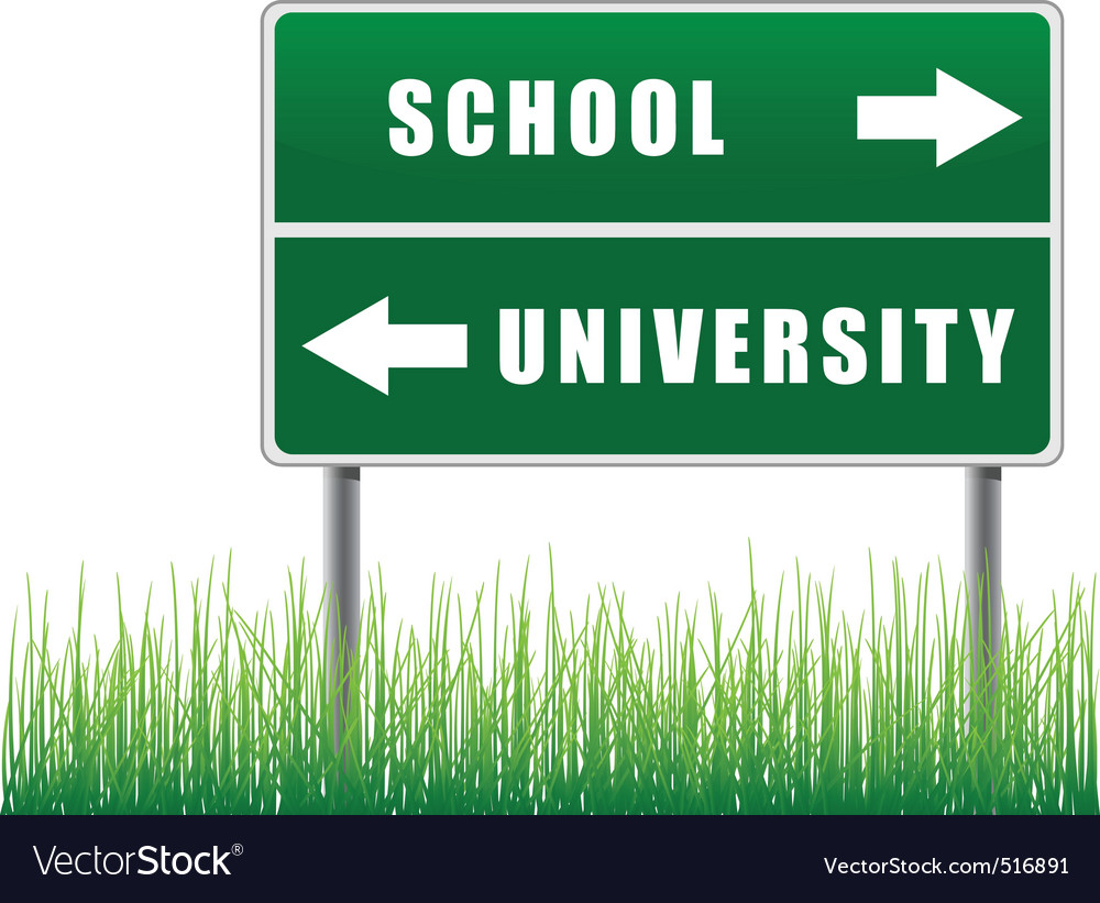 Roadsign school university with grass below vector | Price: 1 Credit (USD $1)