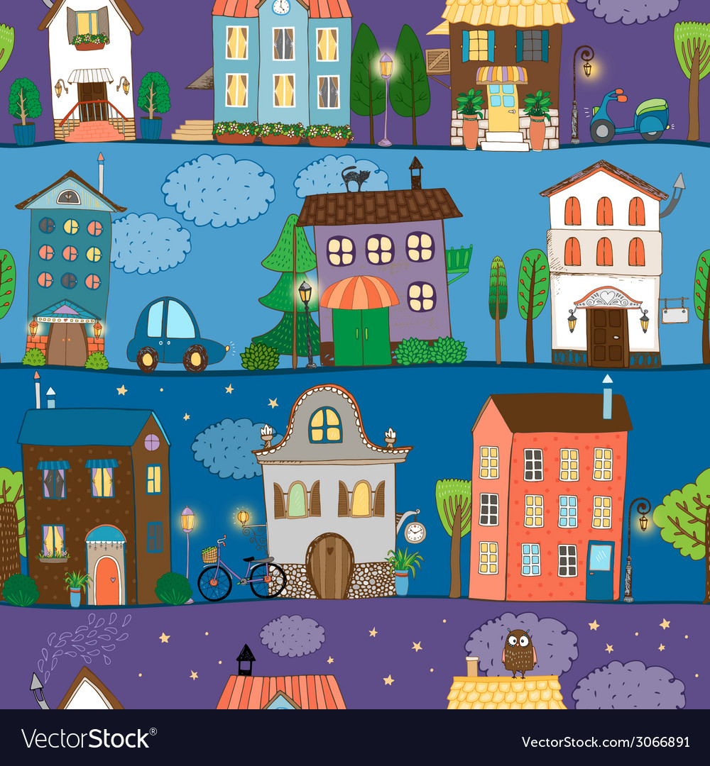 Several colorful and cute house designs vector | Price: 1 Credit (USD $1)