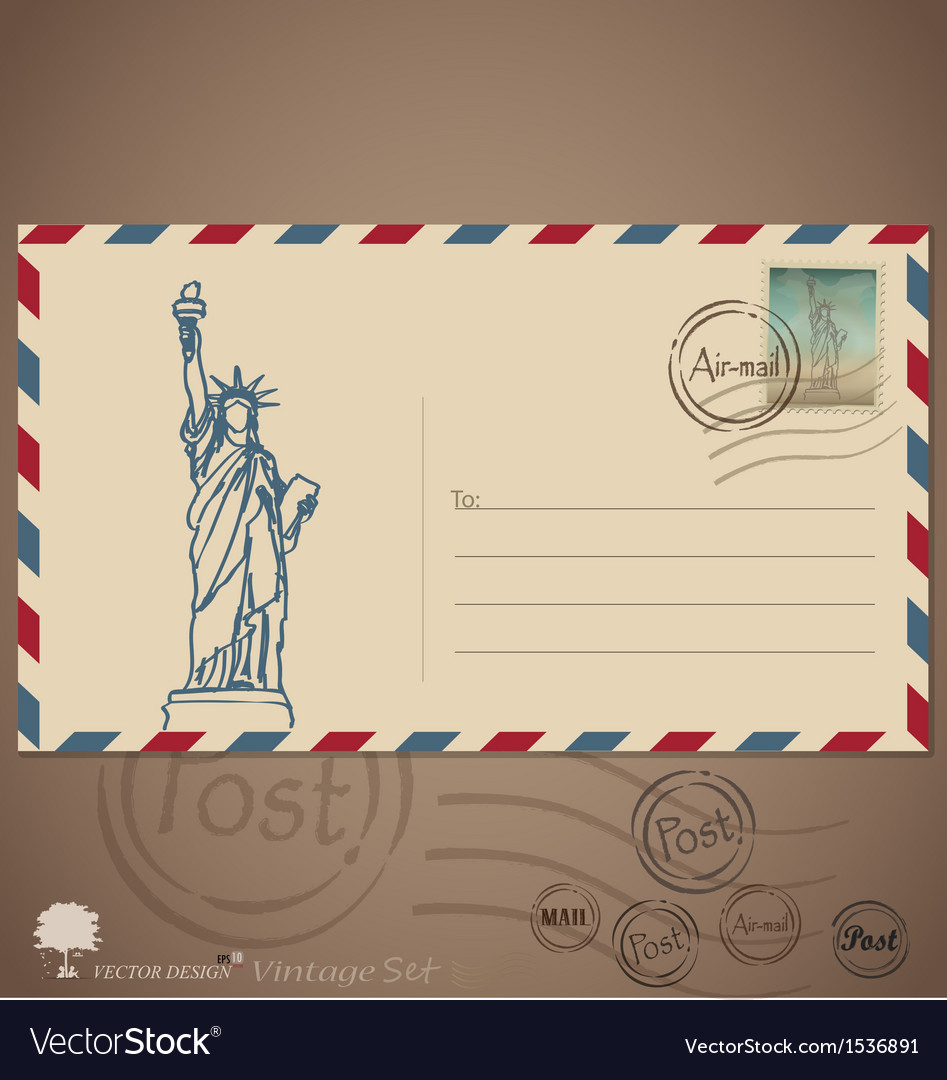 Vintage envelope designs with postage stamp vector | Price: 1 Credit (USD $1)