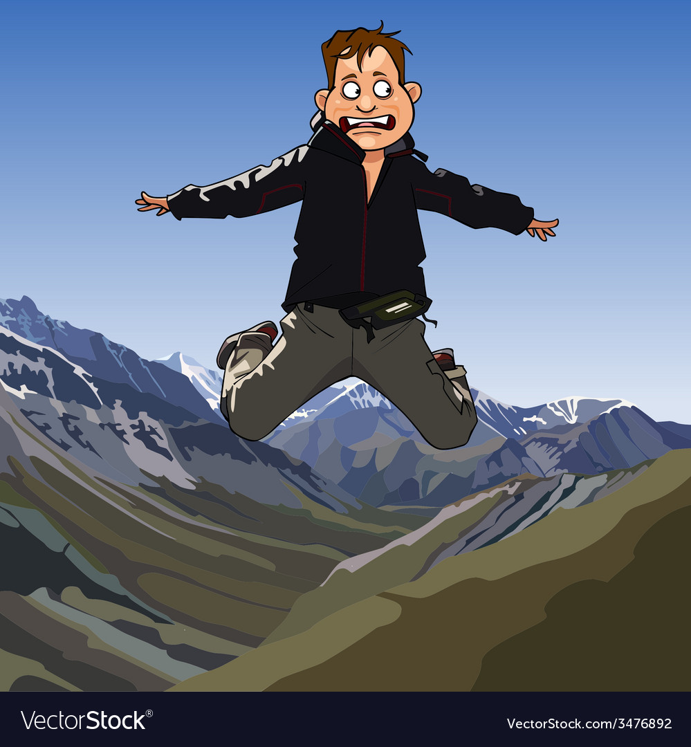 Cartoon frightened man jumping vector | Price: 3 Credit (USD $3)