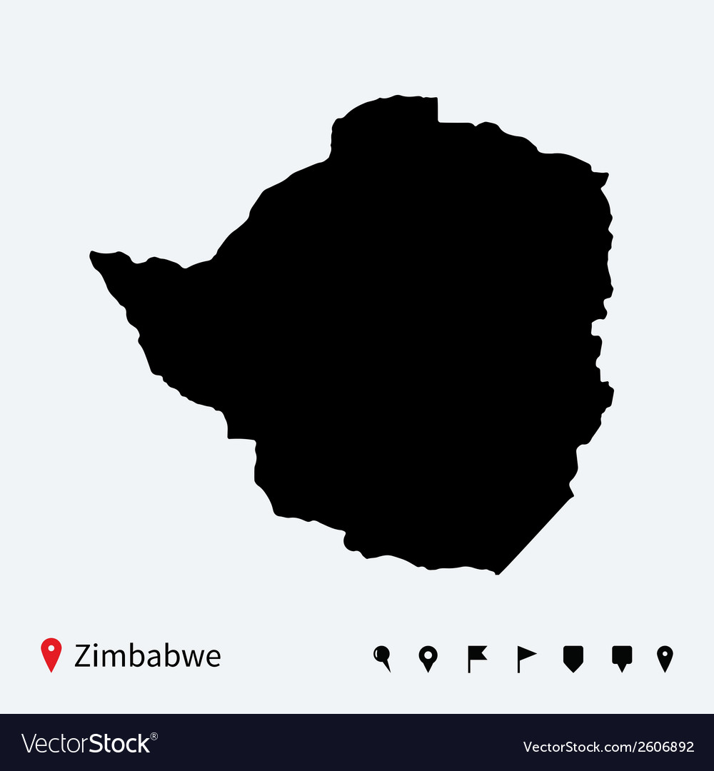 High detailed map of zimbabwe with navigation pins vector | Price: 1 Credit (USD $1)