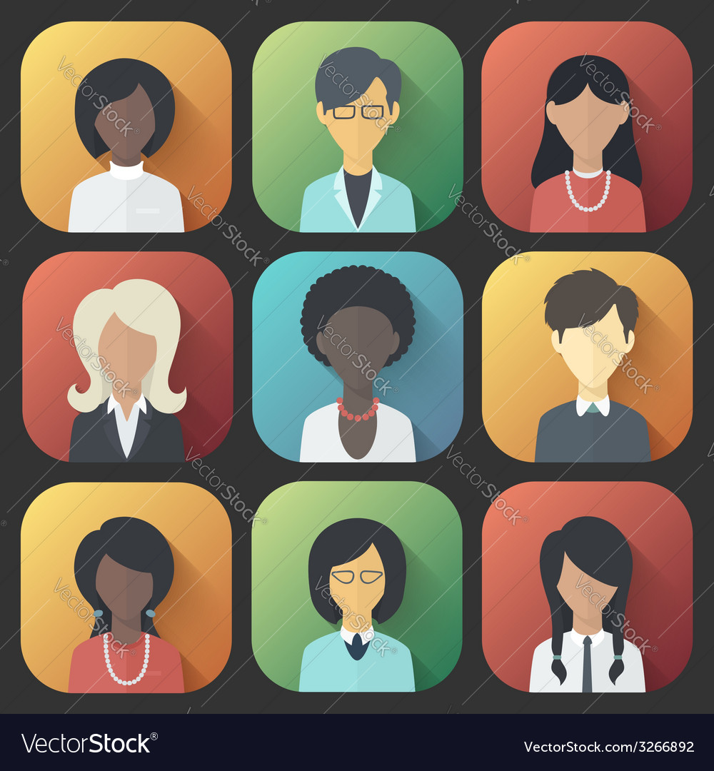Icons set of persons female different ethnic vector | Price: 1 Credit (USD $1)