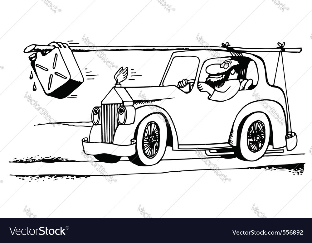 Man in an old car vector | Price: 1 Credit (USD $1)