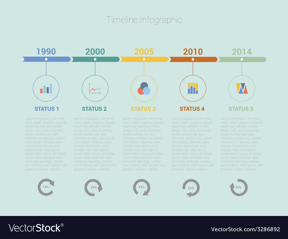 Retro timeline infographic design vector | Price: 1 Credit (USD $1)