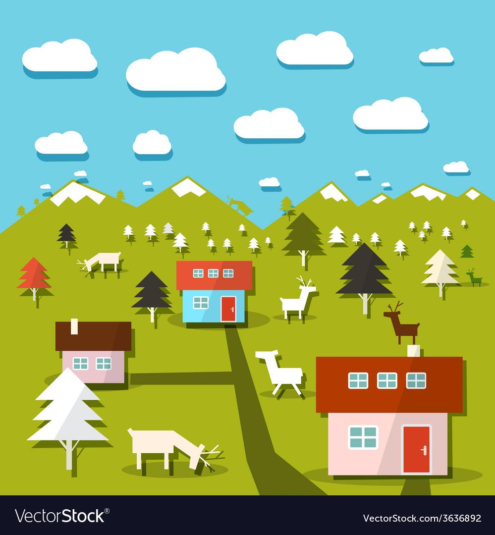 Rural mountain landscape vector | Price: 1 Credit (USD $1)