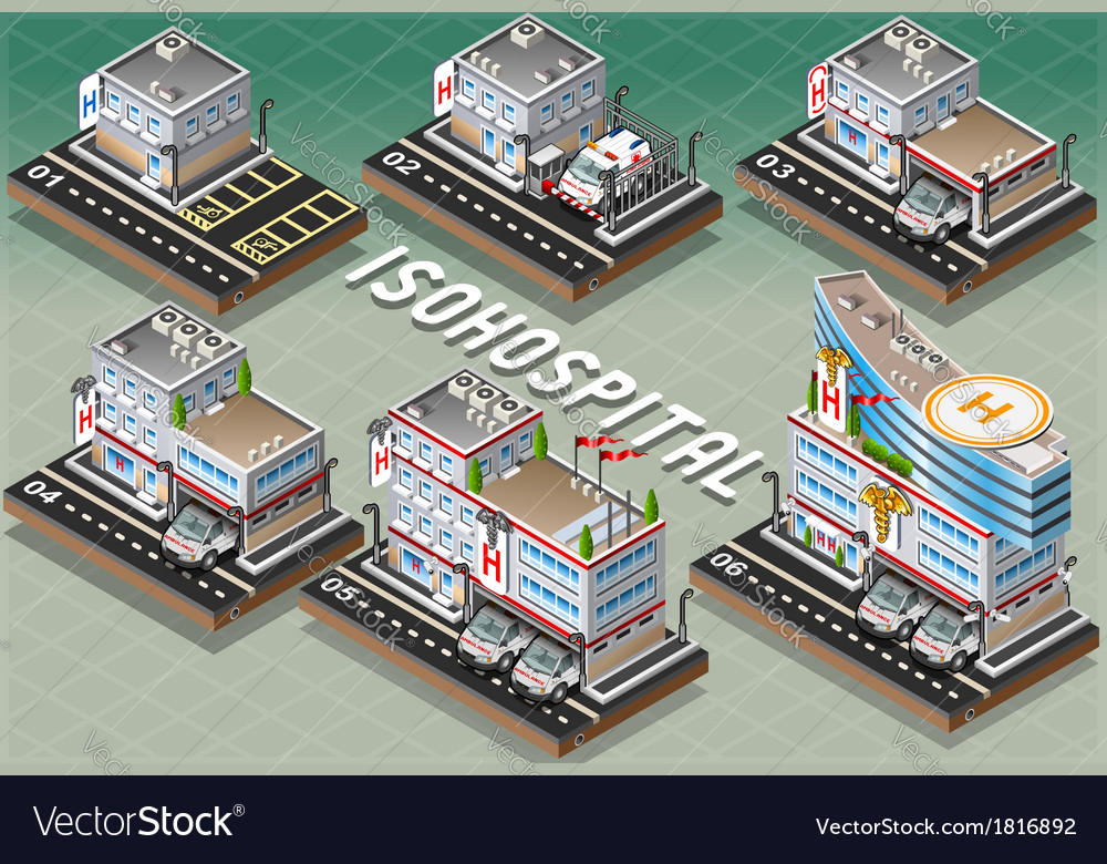 Set of isometric hospitals vector | Price: 1 Credit (USD $1)