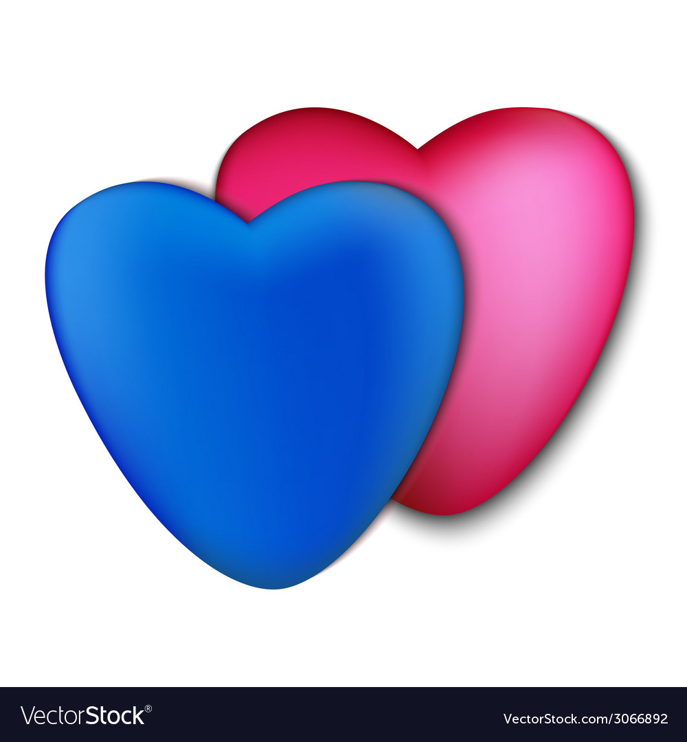 Two hearts pink and blue on a white background vector | Price: 1 Credit (USD $1)