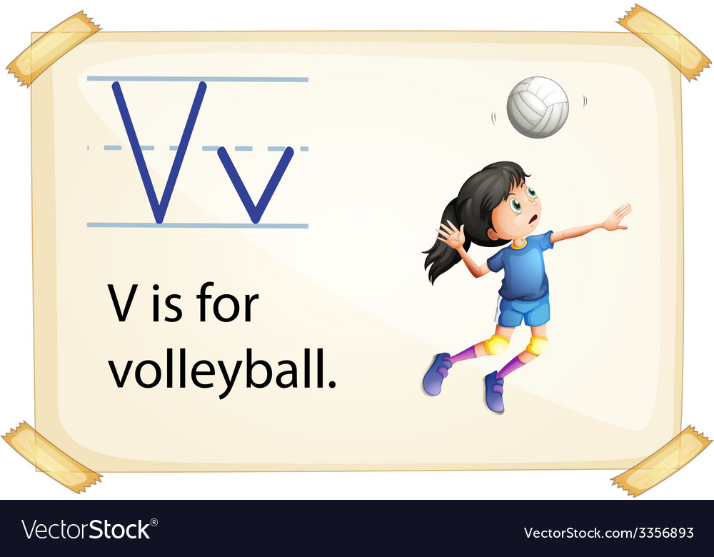 A letter v for volleyball vector | Price: 3 Credit (USD $3)