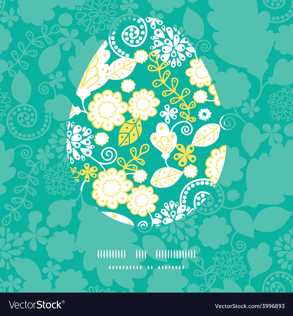 Emerald flowerals easter egg sillhouette vector | Price: 1 Credit (USD $1)