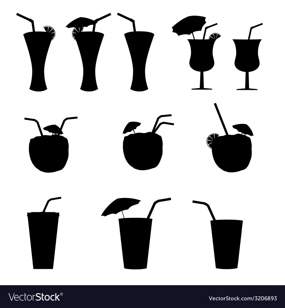 Glasses of alcohol with a straw vector | Price: 1 Credit (USD $1)