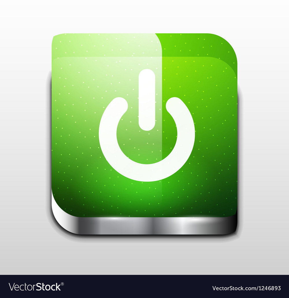 Glossy square power button vector | Price: 1 Credit (USD $1)