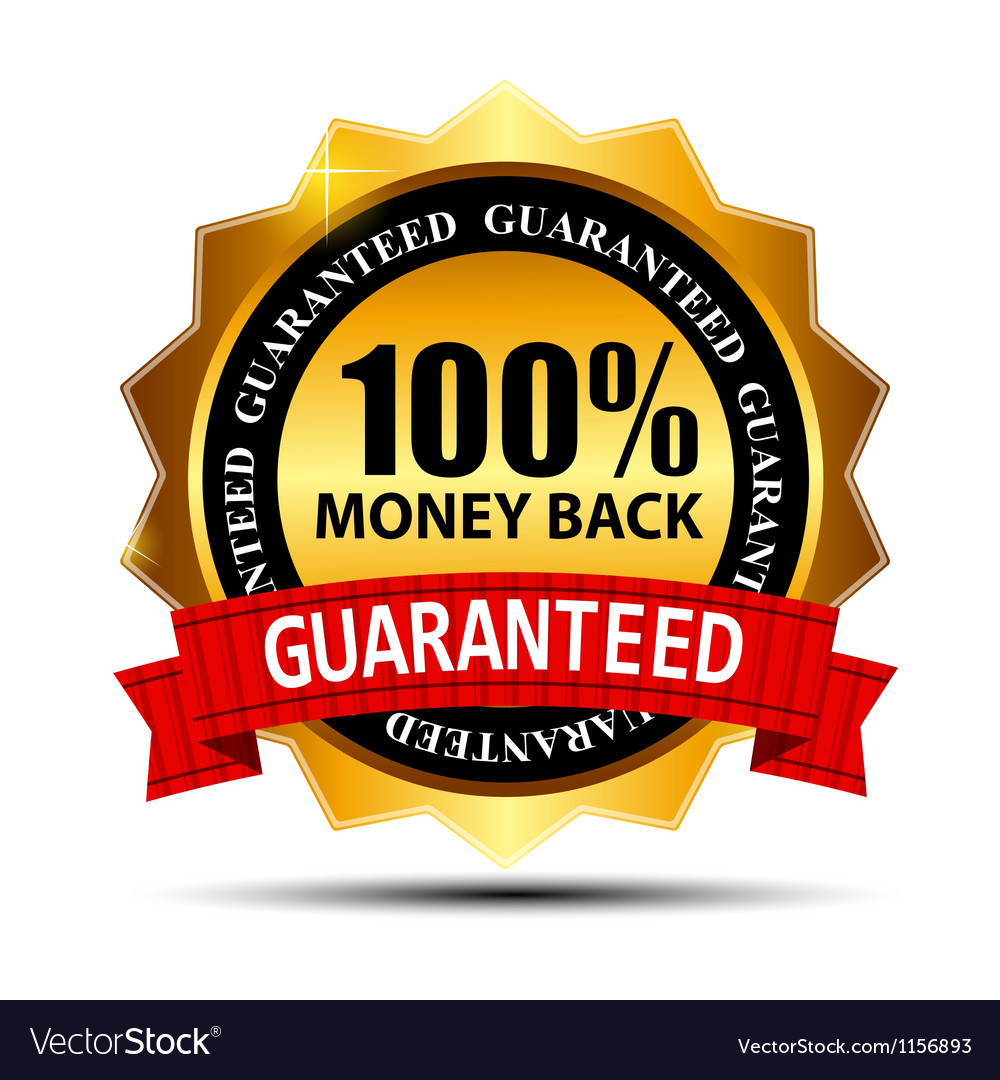 Money back guarantee gold sign label vector | Price: 1 Credit (USD $1)