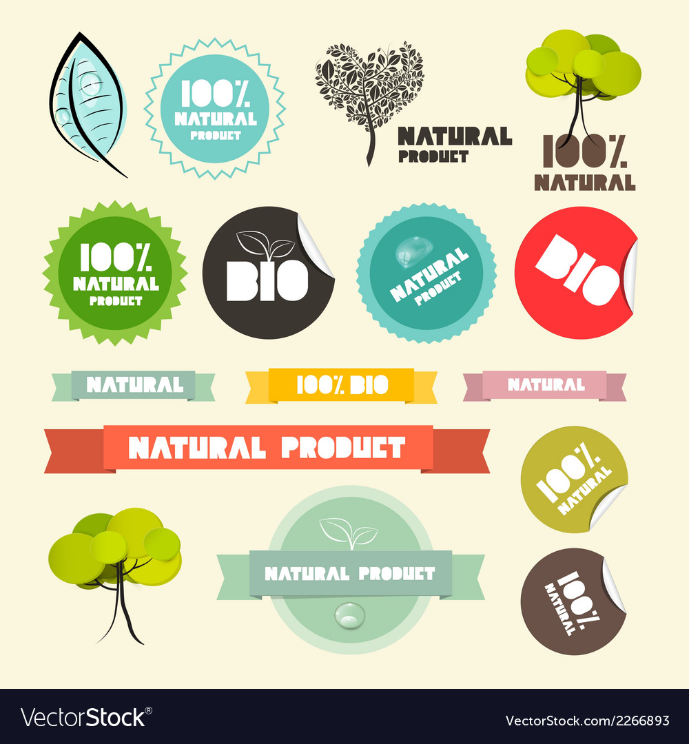 Natural product flat design retro labels - tags - vector | Price: 1 Credit (USD $1)
