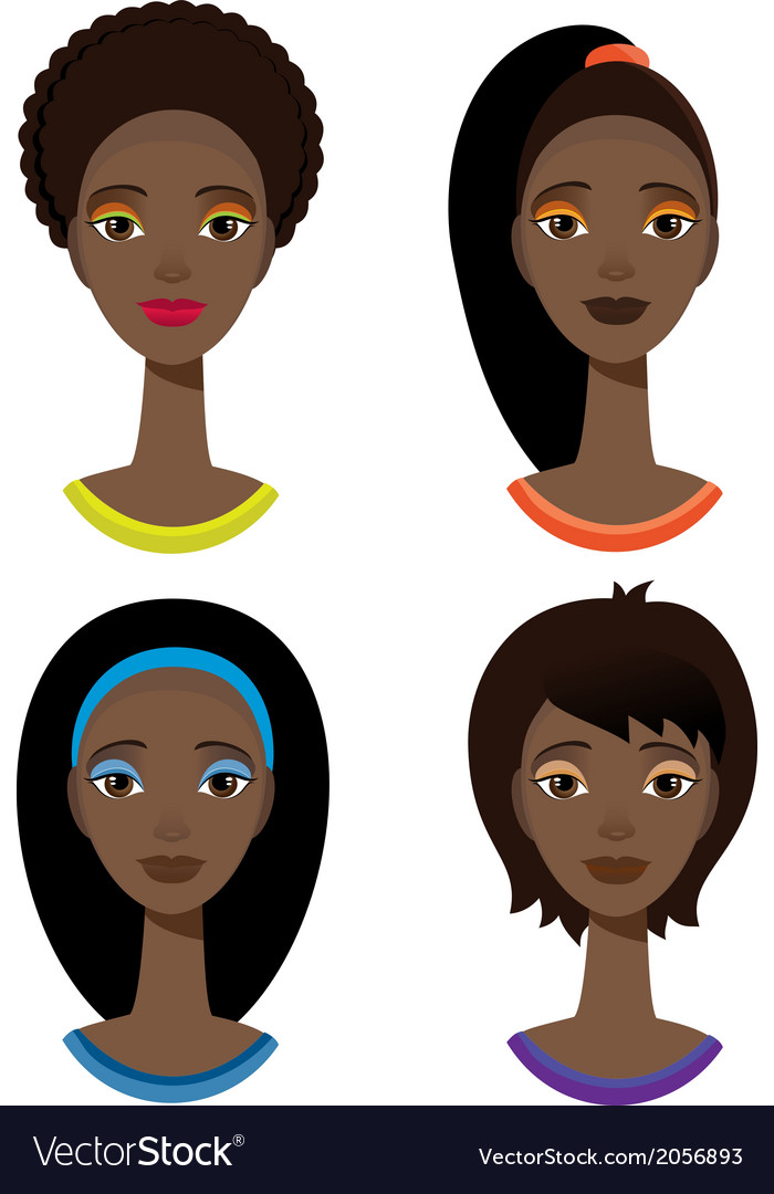 Set with portrait of african woman vector | Price: 1 Credit (USD $1)