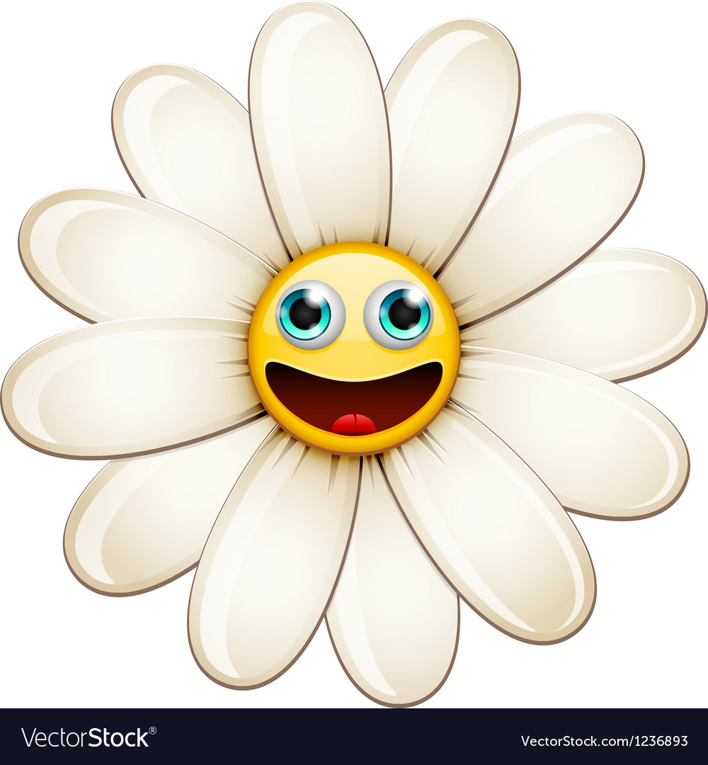 Smiling flower happy daisy vector | Price: 3 Credit (USD $3)