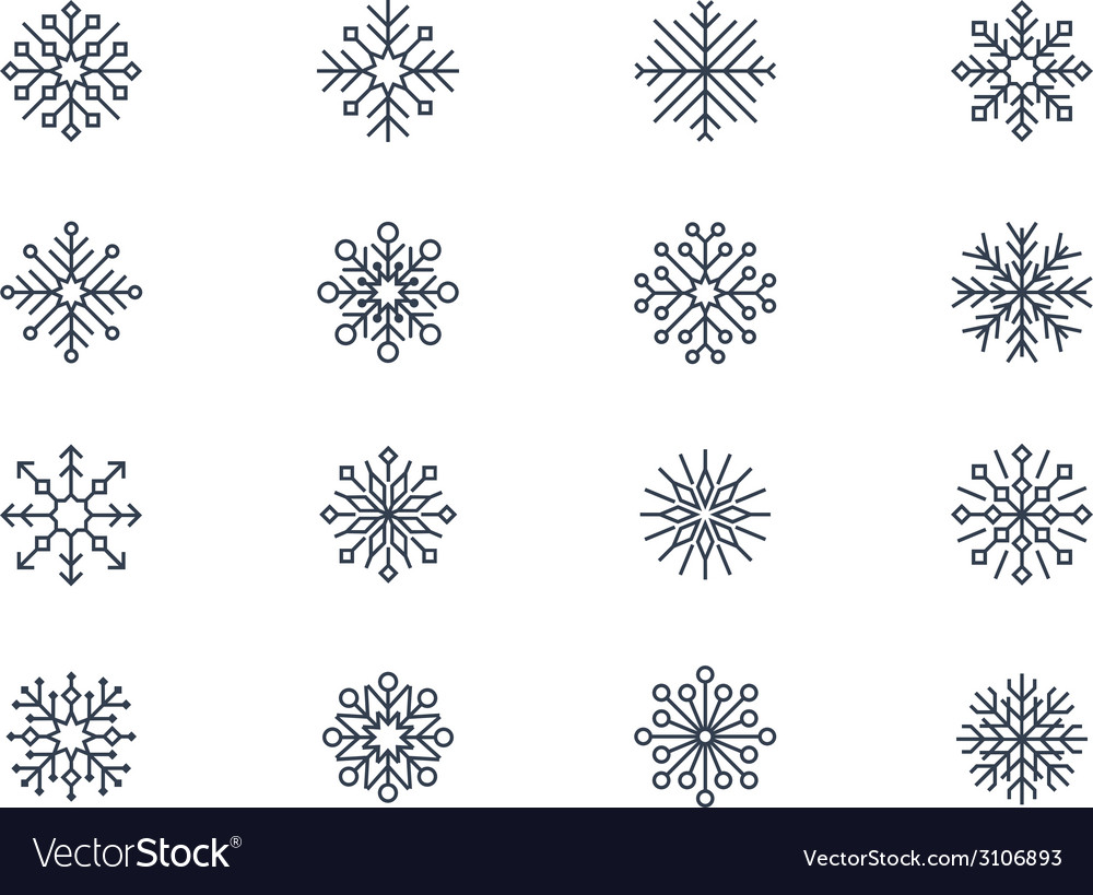 Snowflake icons 4 vector | Price: 1 Credit (USD $1)