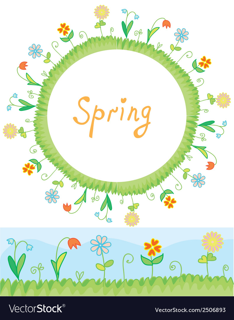 Spring flowers frame and border vector | Price: 1 Credit (USD $1)