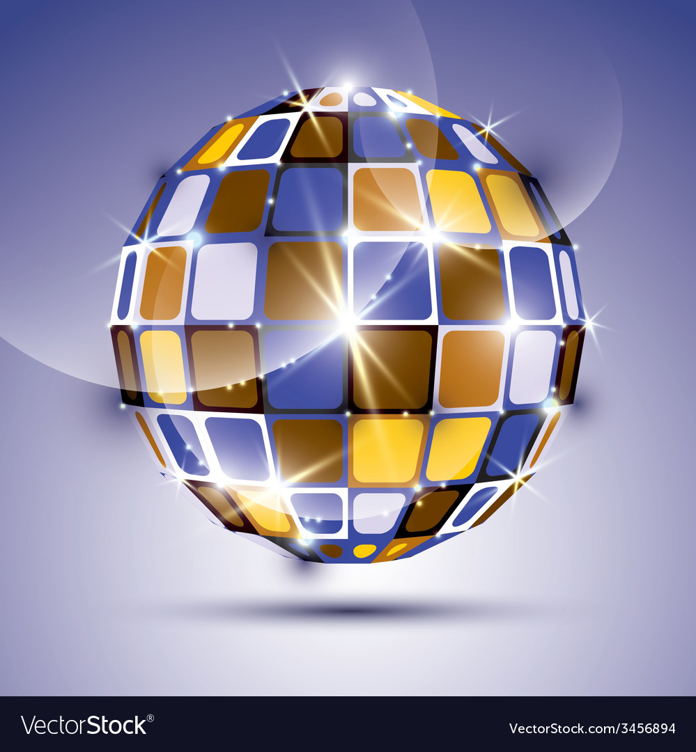 3d glossy violet fractal mirror ball created from vector | Price: 1 Credit (USD $1)