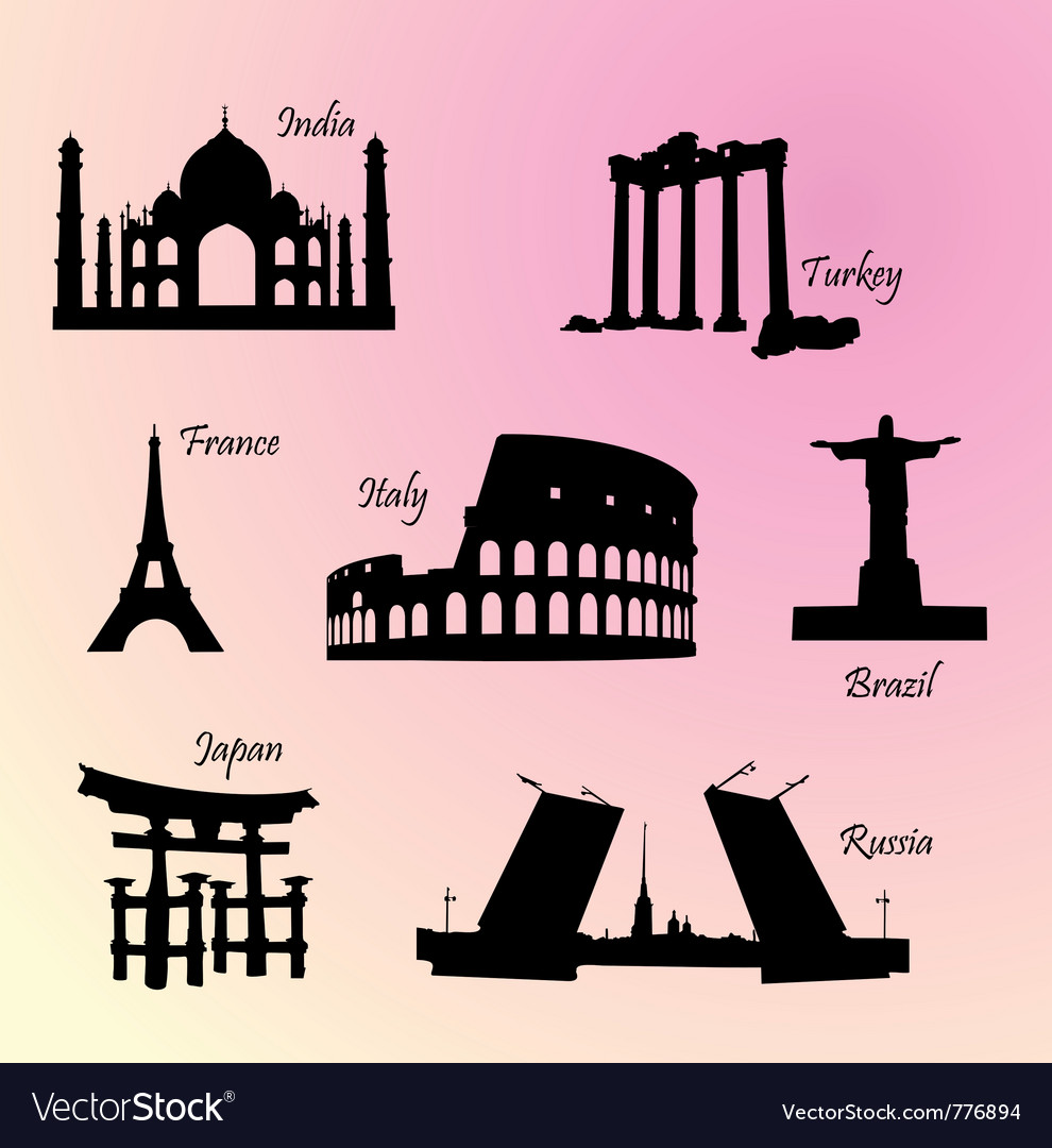 Landmarks countries of the world vector | Price: 1 Credit (USD $1)
