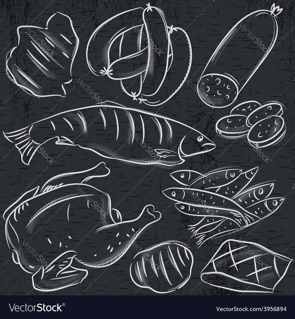 Set of different meats on blackboard vector | Price: 1 Credit (USD $1)