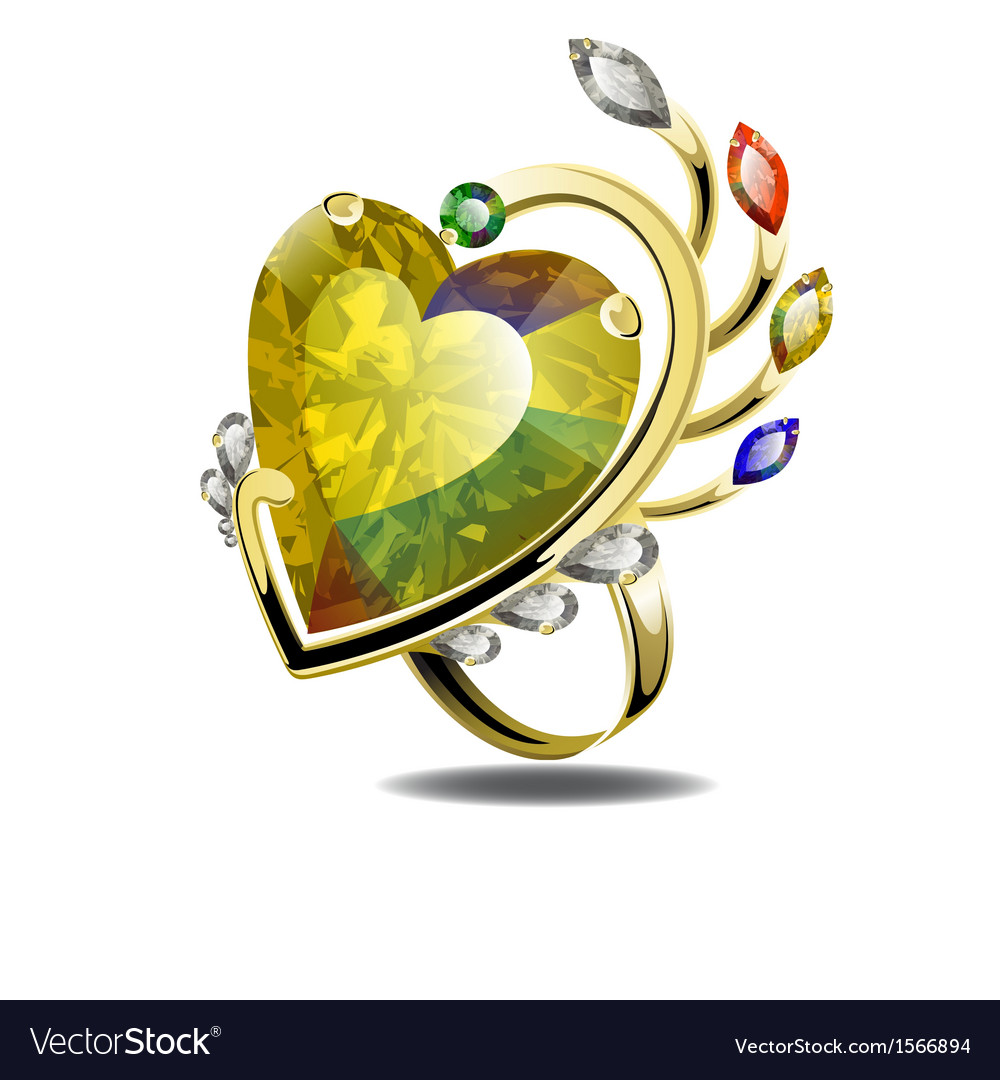Stunning ring with heart shape diamond and gems vector | Price: 1 Credit (USD $1)