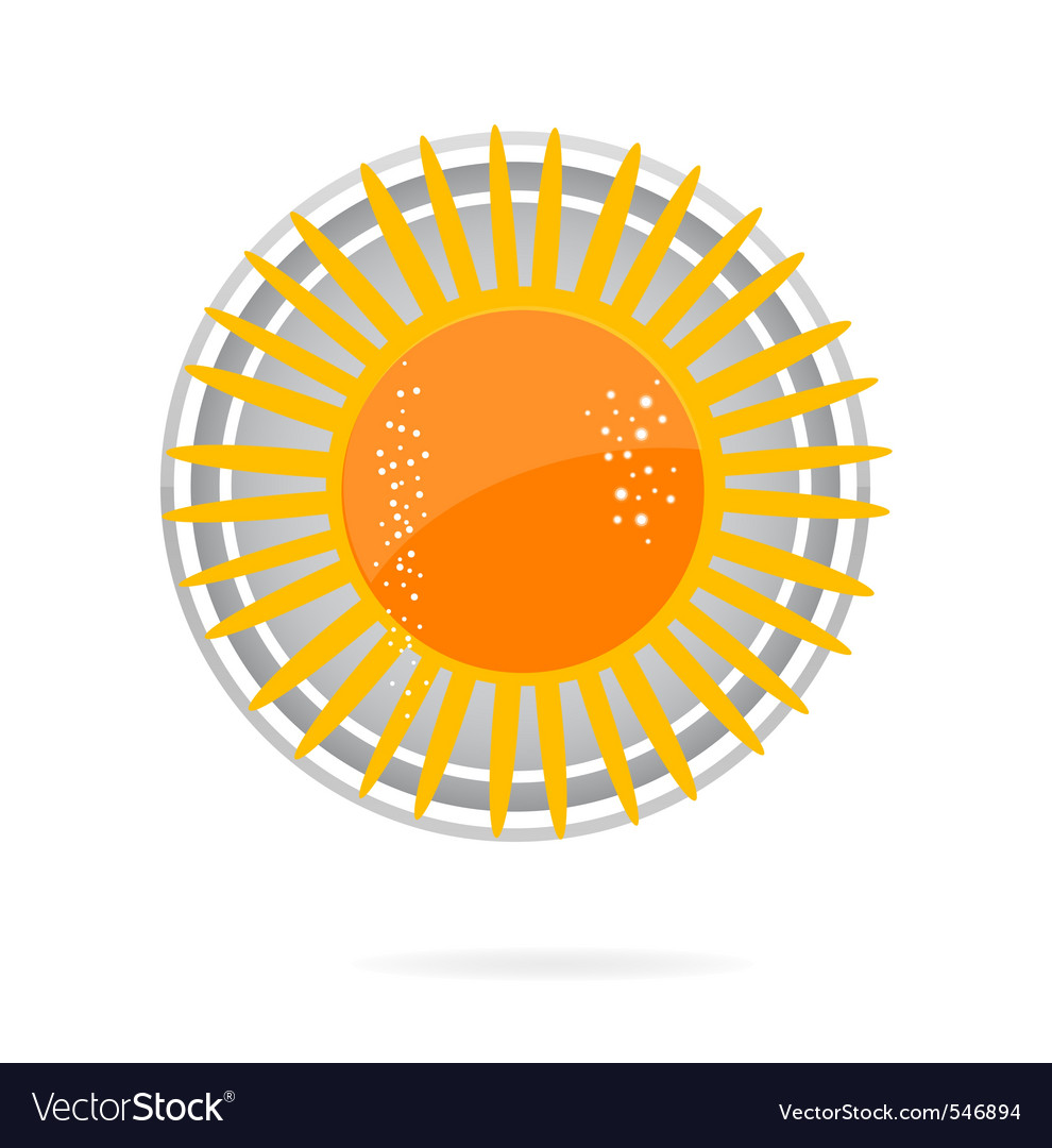 Sun symbol yellow color on the white vector | Price: 1 Credit (USD $1)
