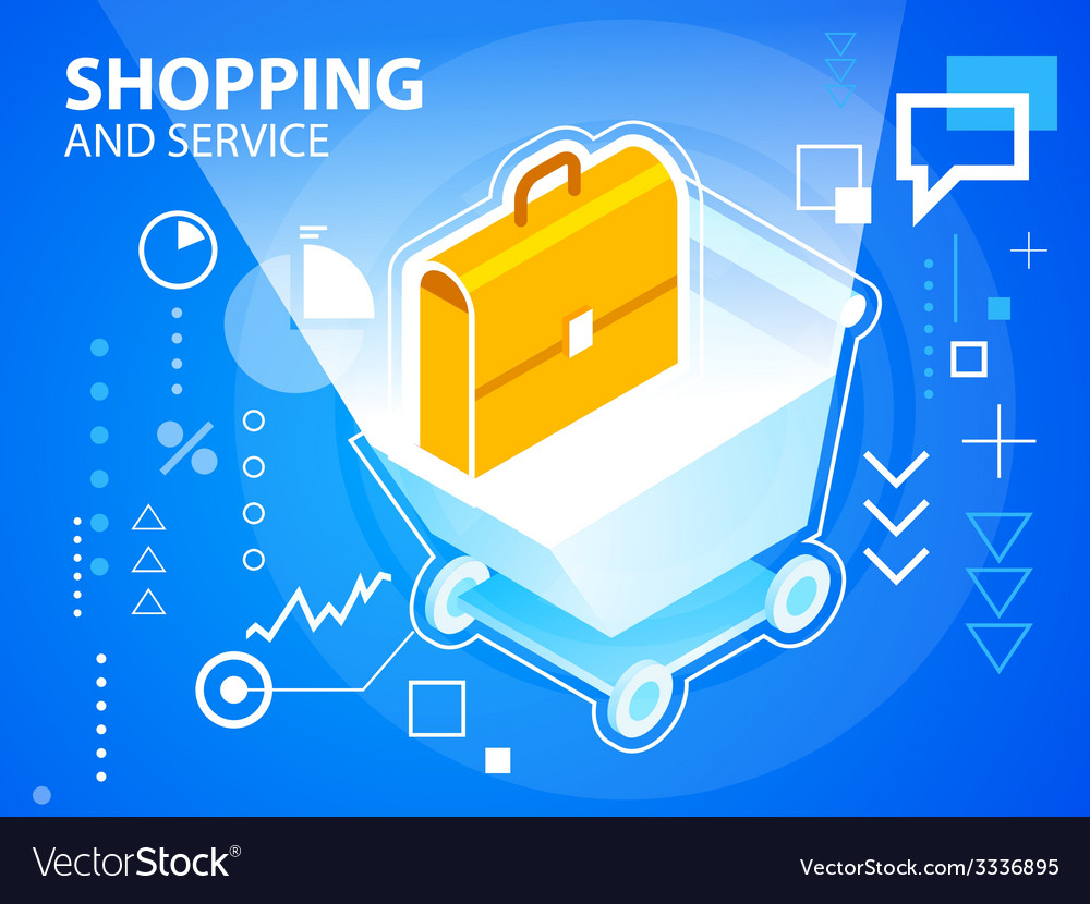 Bright shopping trolley and work suitcase on vector | Price: 3 Credit (USD $3)