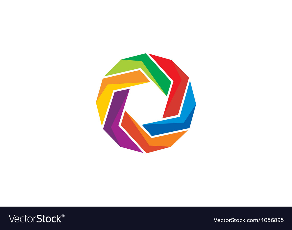 Circular abstract geometry colorful logo vector | Price: 1 Credit (USD $1)